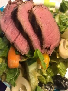 Khrysten's Filet Mignons over Salad